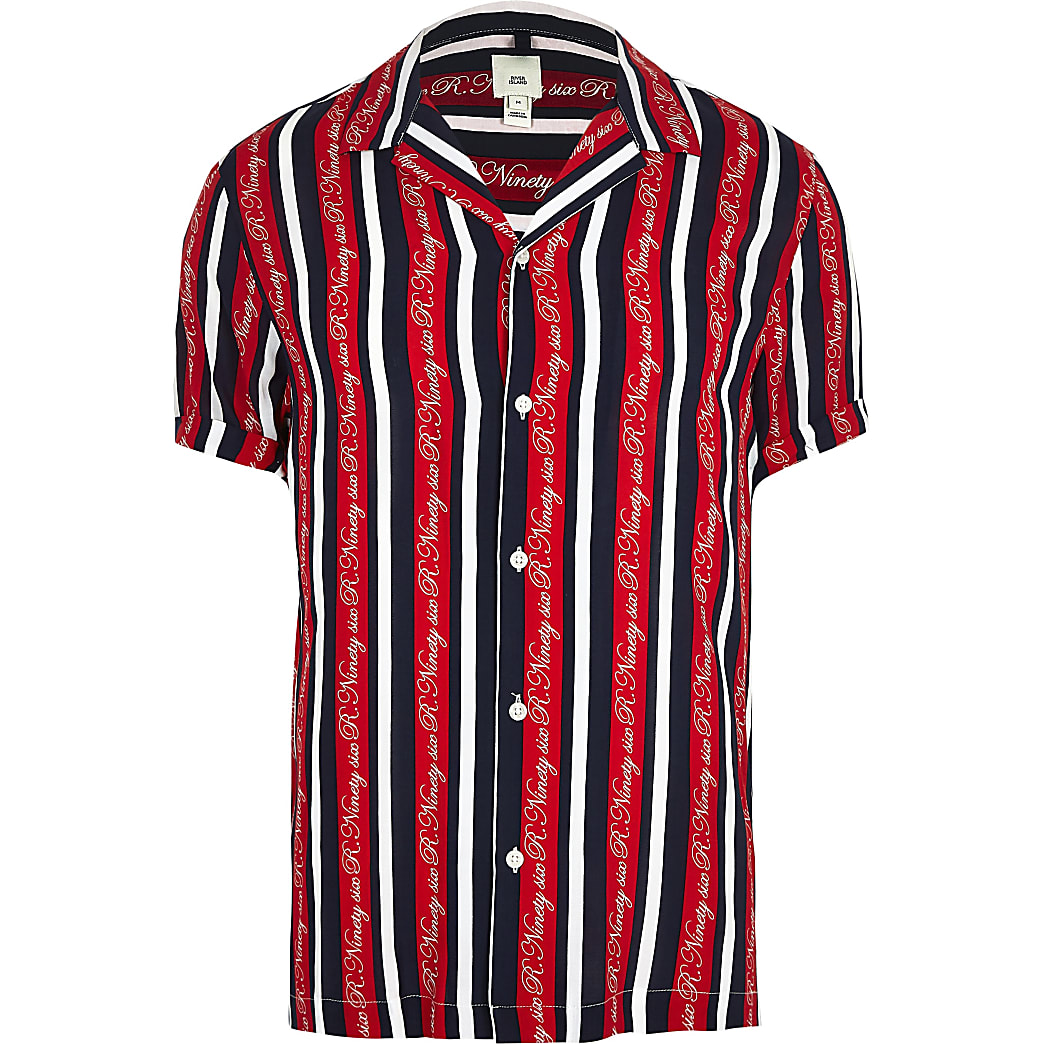 Big and Tall - Chemise R96 rouge à​​​​​​​ rayures