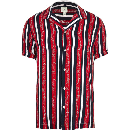 Big and Tall red R96 stripe shirt