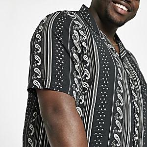 Big and Tall - Zwart overhemd met korte mouwen en Aztekenprint