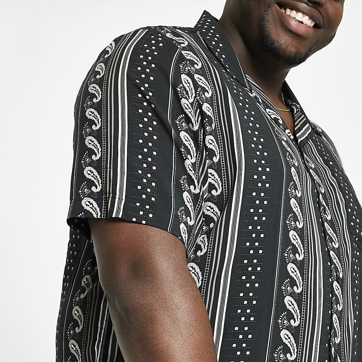 Big and Tall – Chemise motif aztèque noire à manches courtes