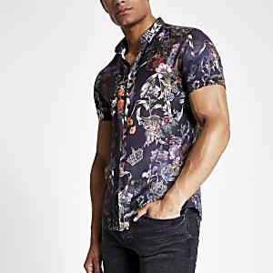 Zwart gebloemd slim-fit overhemd met korte mouwen