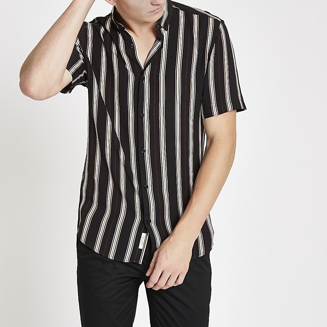 Zwart gestreept slim-fit overhemd met korte mouwen
