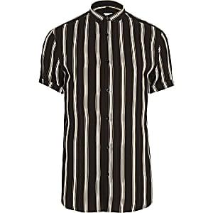 Big and Tall black slim fit stripe shirt