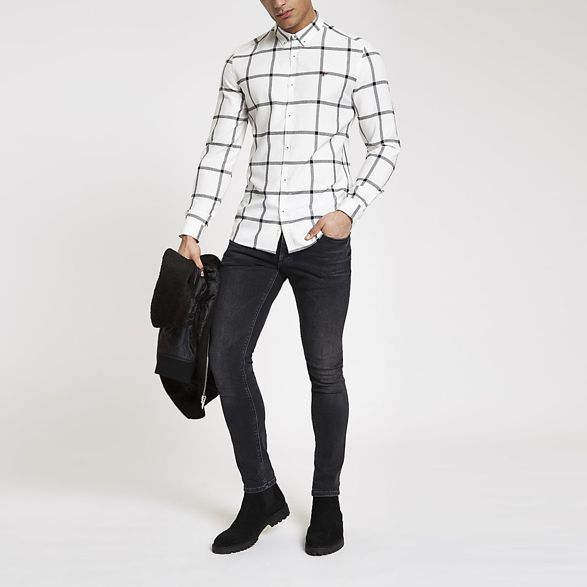 White check button down long sleeve shirt