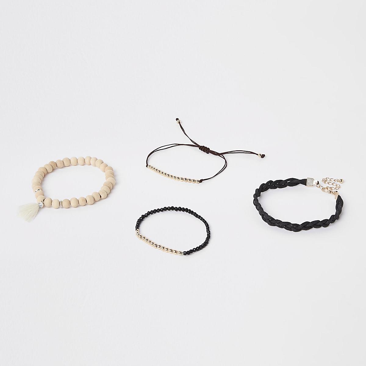 Schwarze Perlenarmbänder, Set