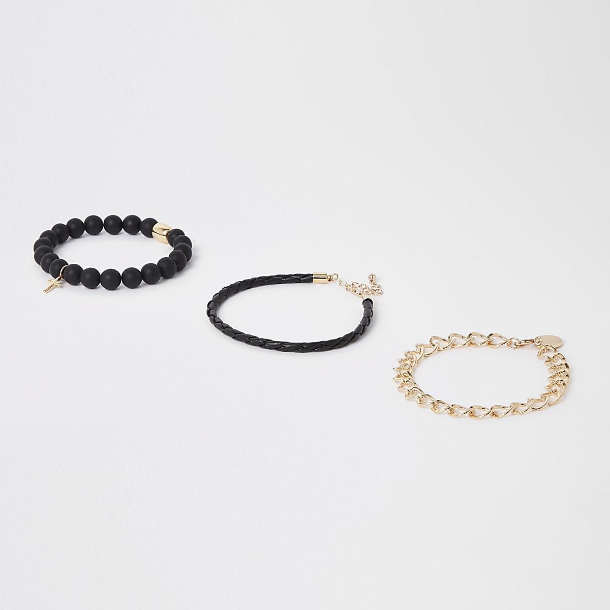 Lot de bracelets à chaîne dorée et perles noires