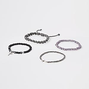 Lot de bracelets à cordon et perles grises