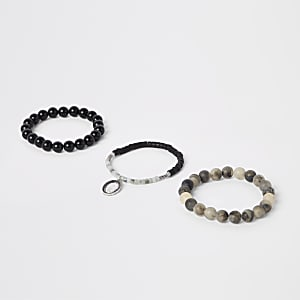 Grey bead bracelet pack