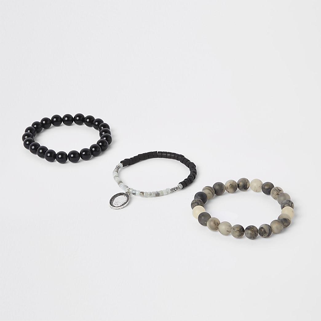Lot de bracelets à perles grises
