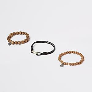 Lot de bracelets à perles marron