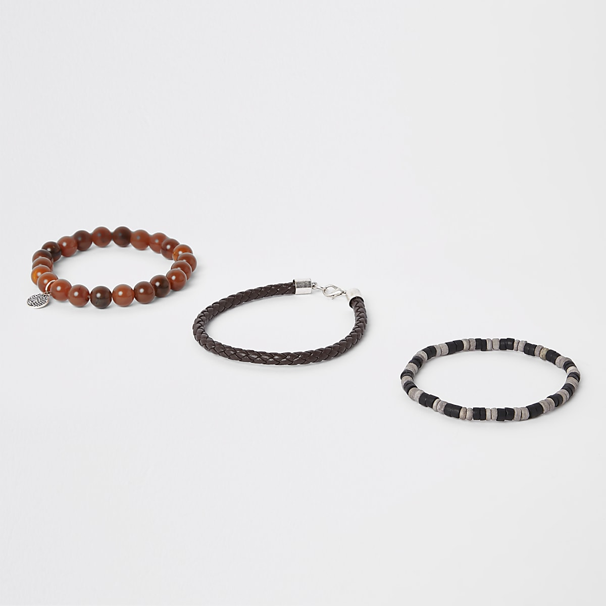 Brown bead and faux leather bracelet pack