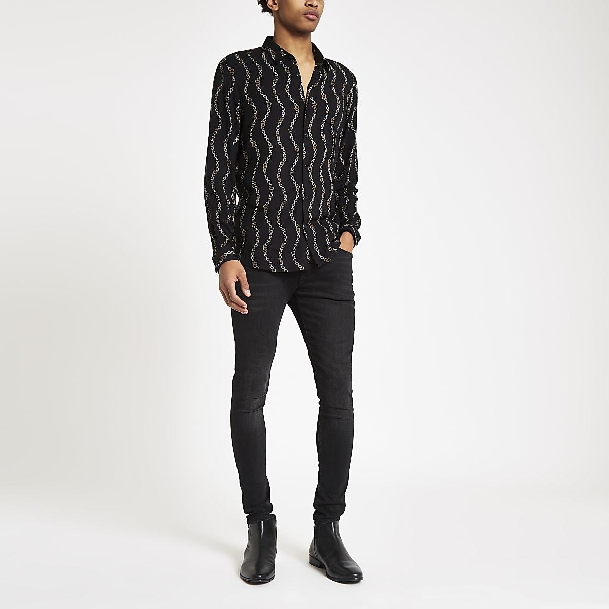 half off 360ac 19698 Black chain print long sleeve shirt