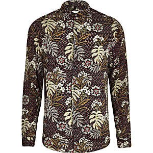 Big and Tall red floral shirt
