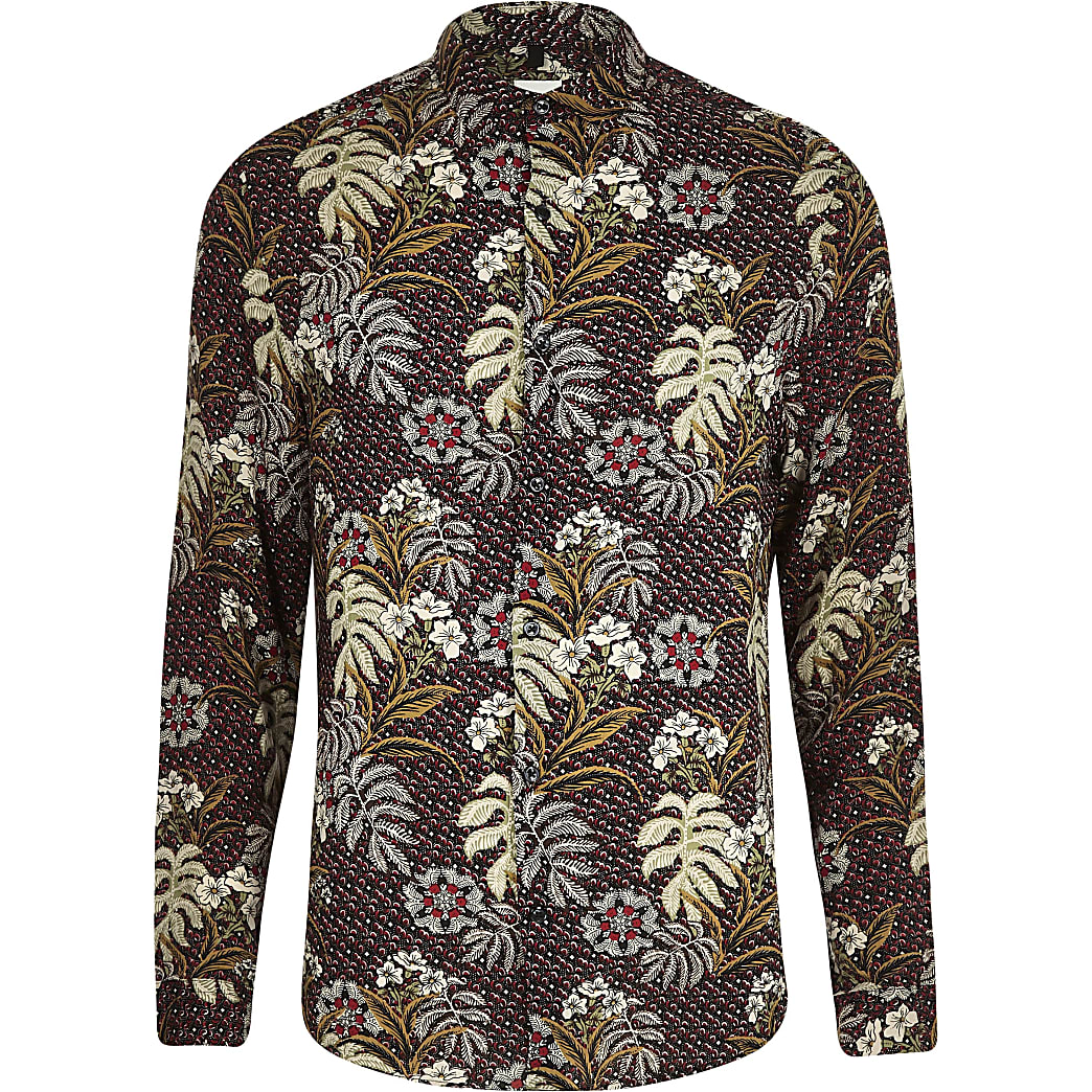 Big and Tall - Rood overhemd met bloemenprint