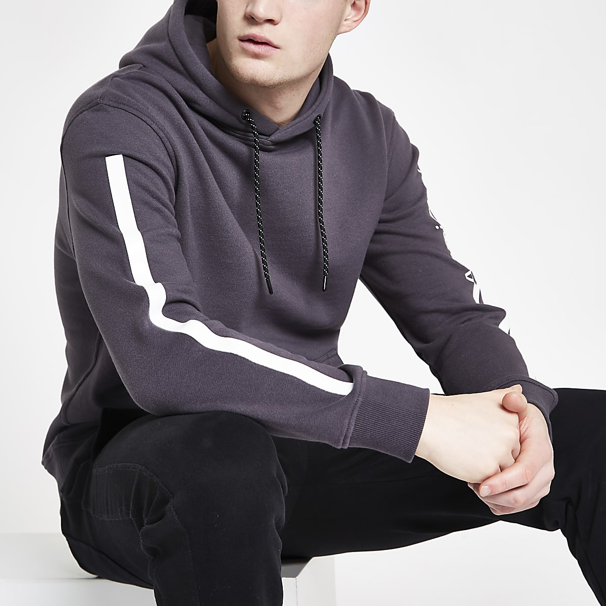 Arcminute grey tape long sleeve hoodie