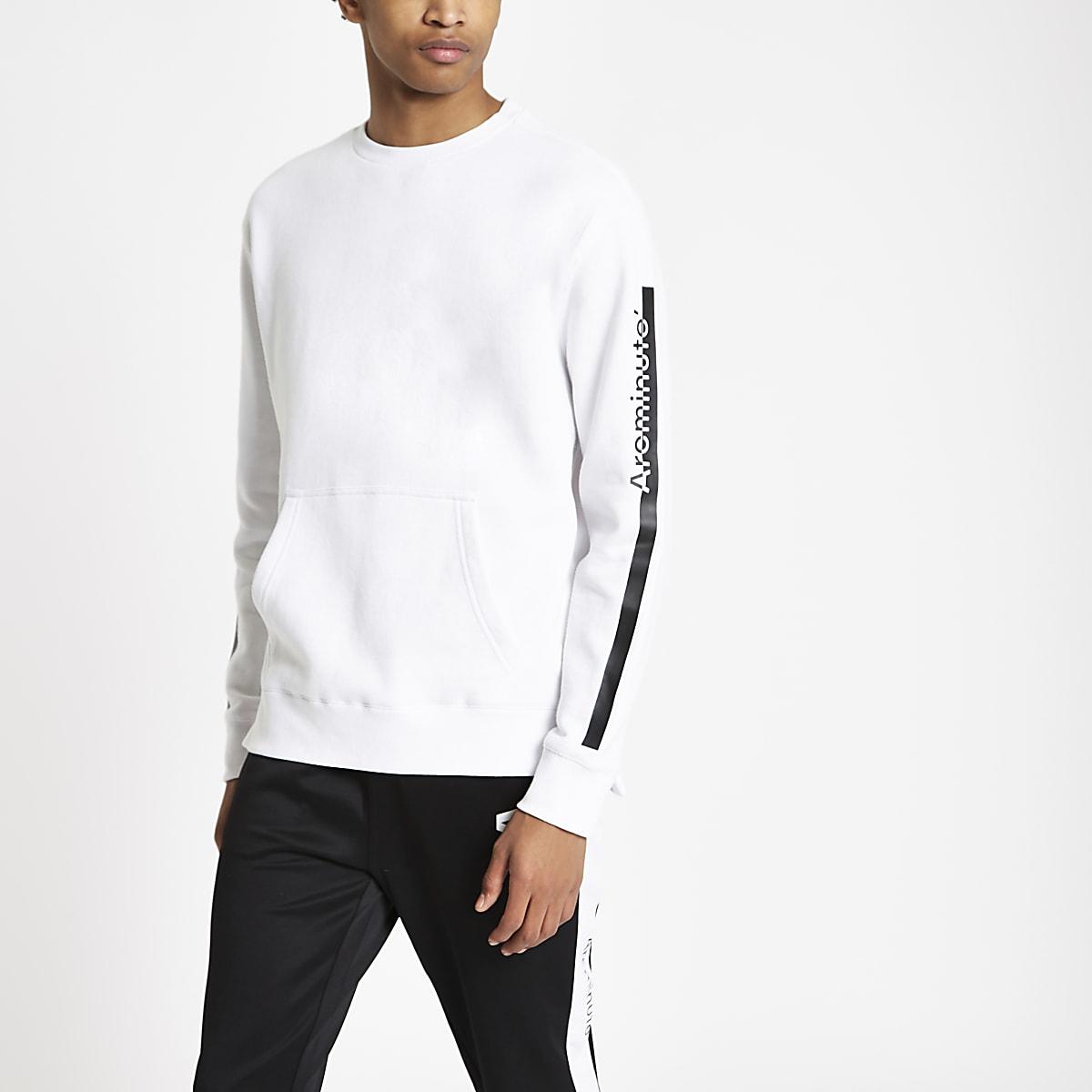 Arcminute white tape crew neck sweatshirt