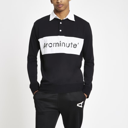 Arcminute black logo long sleeve rugby shirt