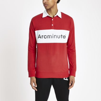 Arcminute red long sleeve rugby shirt