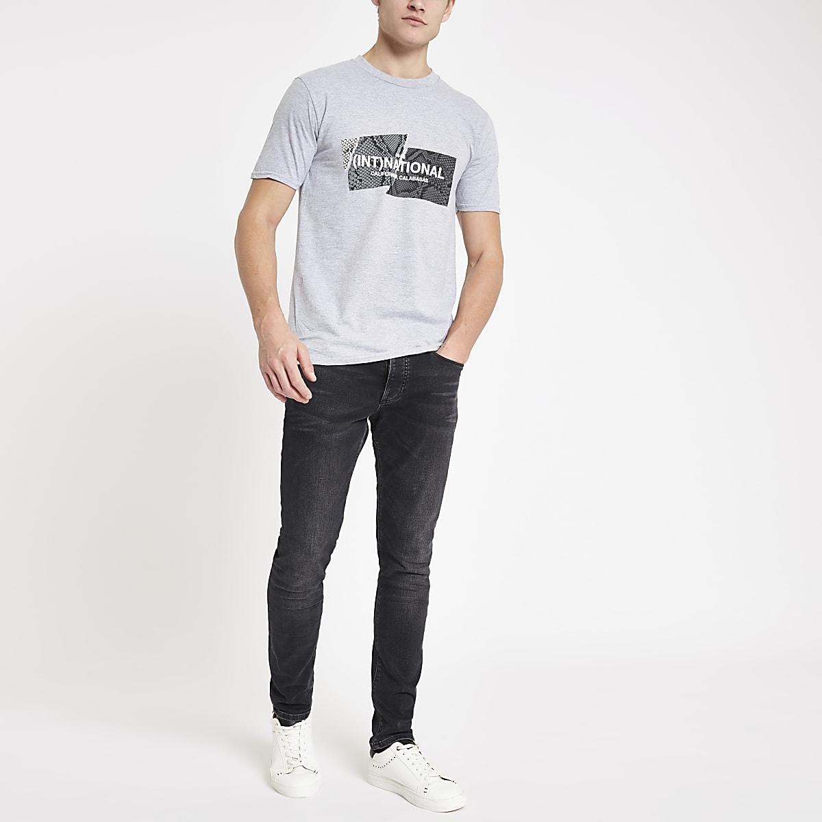 T-shirt slim imprimé «(Int)national» gris