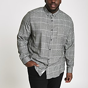 Big and Tall grey check long sleeve shirt