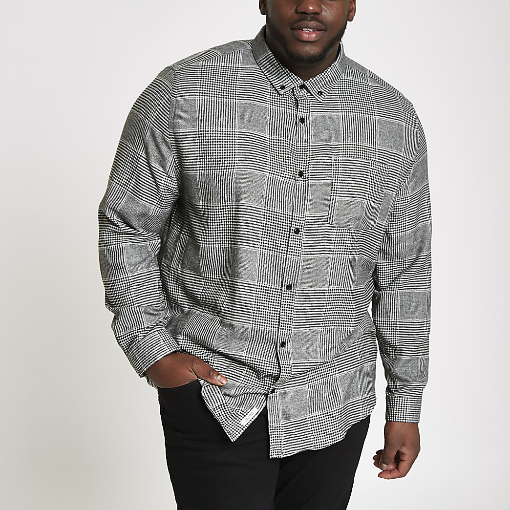 Big and Tall – Chemise manches longues à carreaux grise