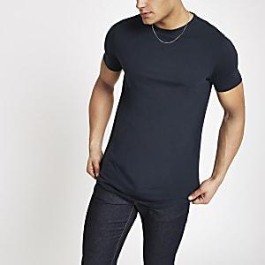 Marineblaues, langes T-Shirt mit abgerundetem Saum