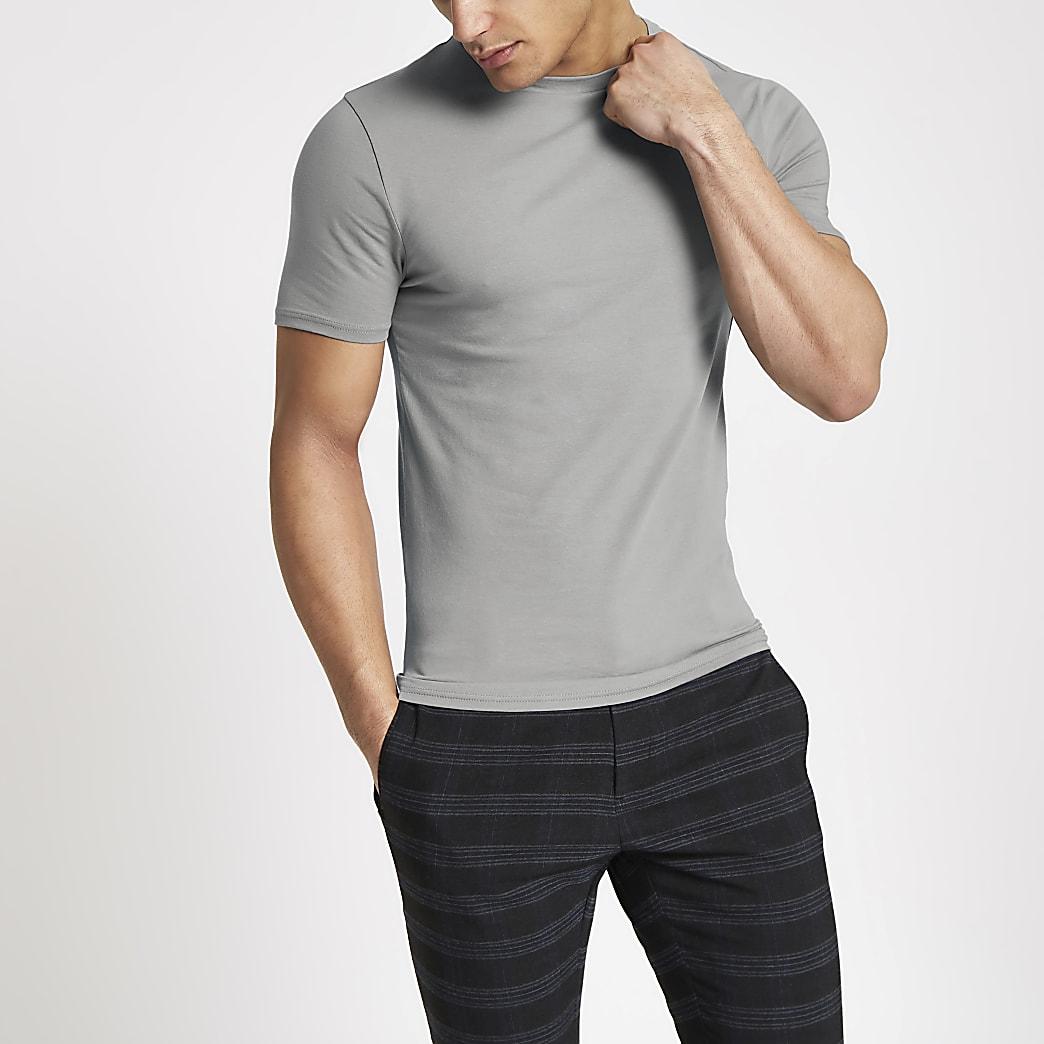 T-shirt ajusté gris à col ras-du-cou