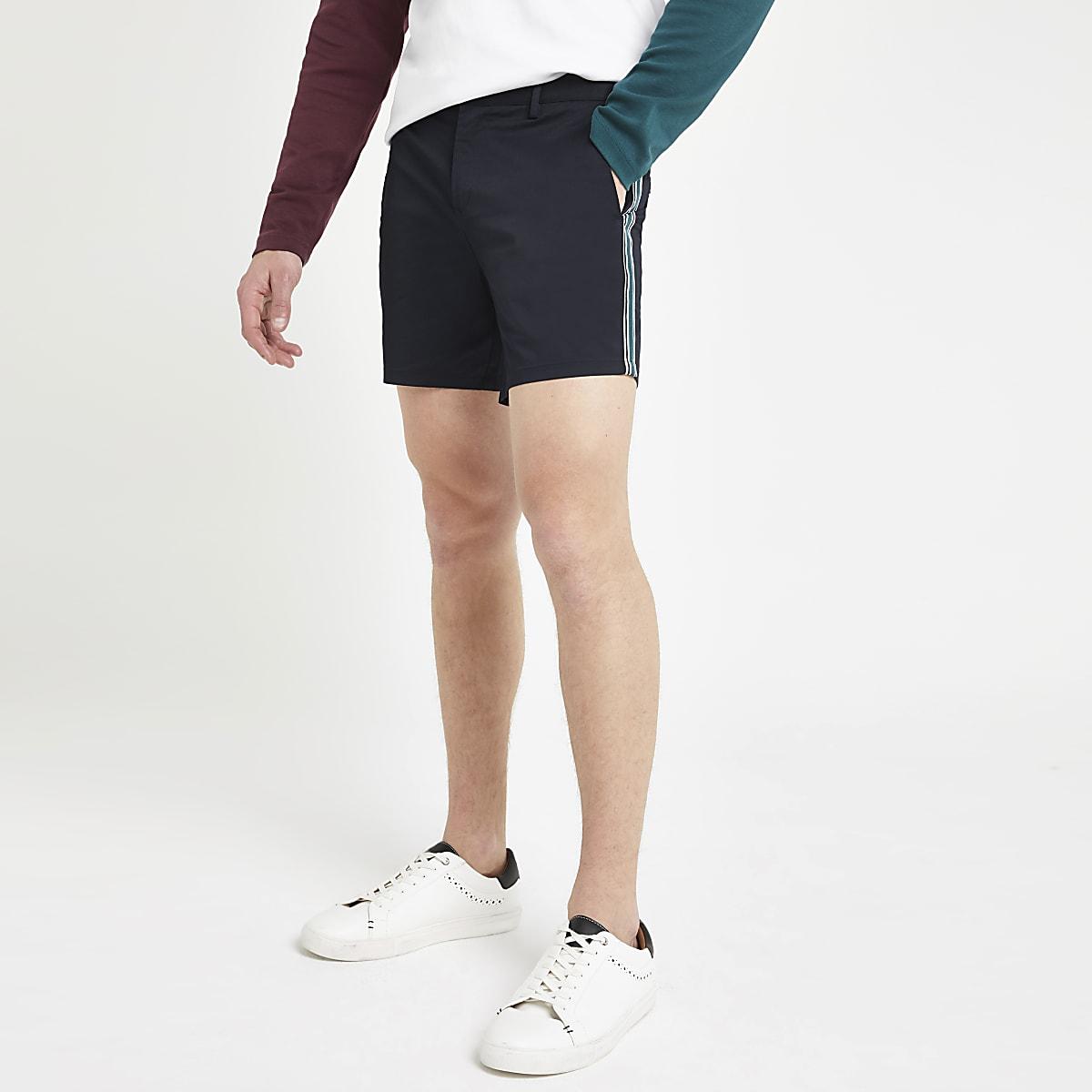 Navy tape slim fit chino shorts