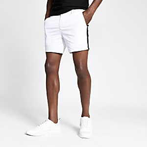 White tape slim fit chino shorts