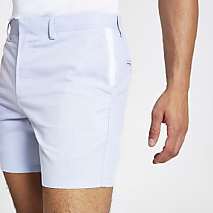 Light blue slim fit Oxford shorts
