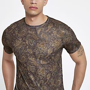 Bruin slim-fit T-shirt met paisleyprint