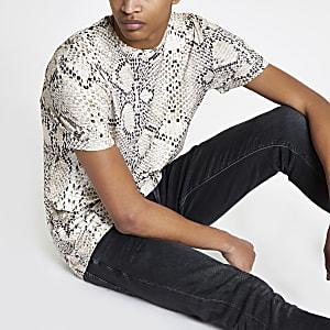 Steingraues Slim Fit T-Shirt in Schlangenlederoptik