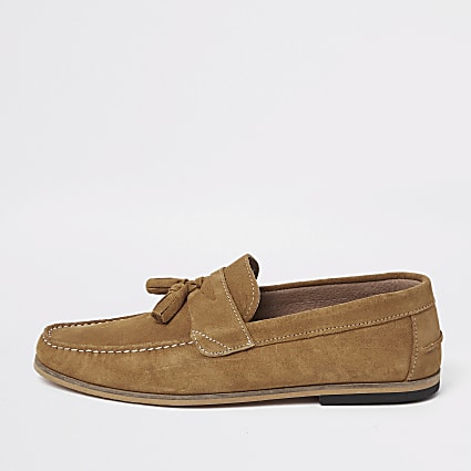 Light brown suede tassel loafers