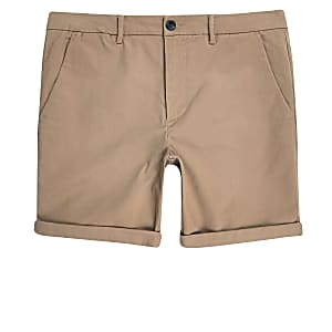 Big and Tall tan skinny fit chino shorts