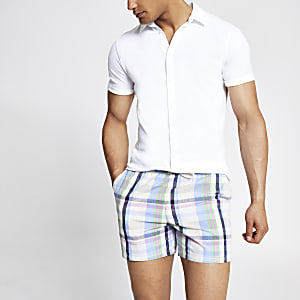Paarse geruite slim-fit short