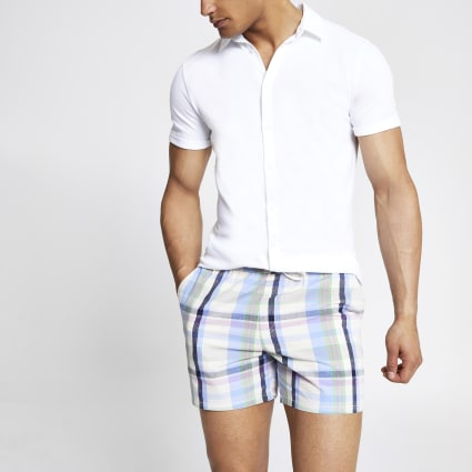 Purple check slim fit shorts