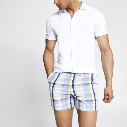 Purple check slim fit shorts