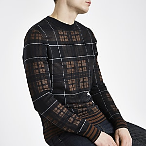 Navy check slim fit long sleeve sweater