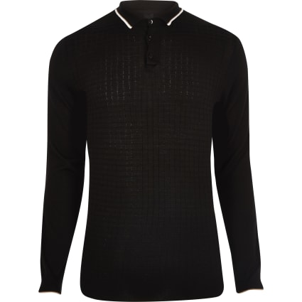 Black slim fit grid textured polo shirt
