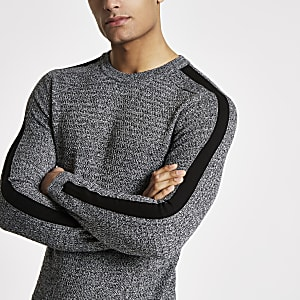 Grey muscle fit cable knit sweater