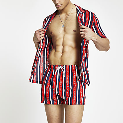 Red R96 stripe swim shorts