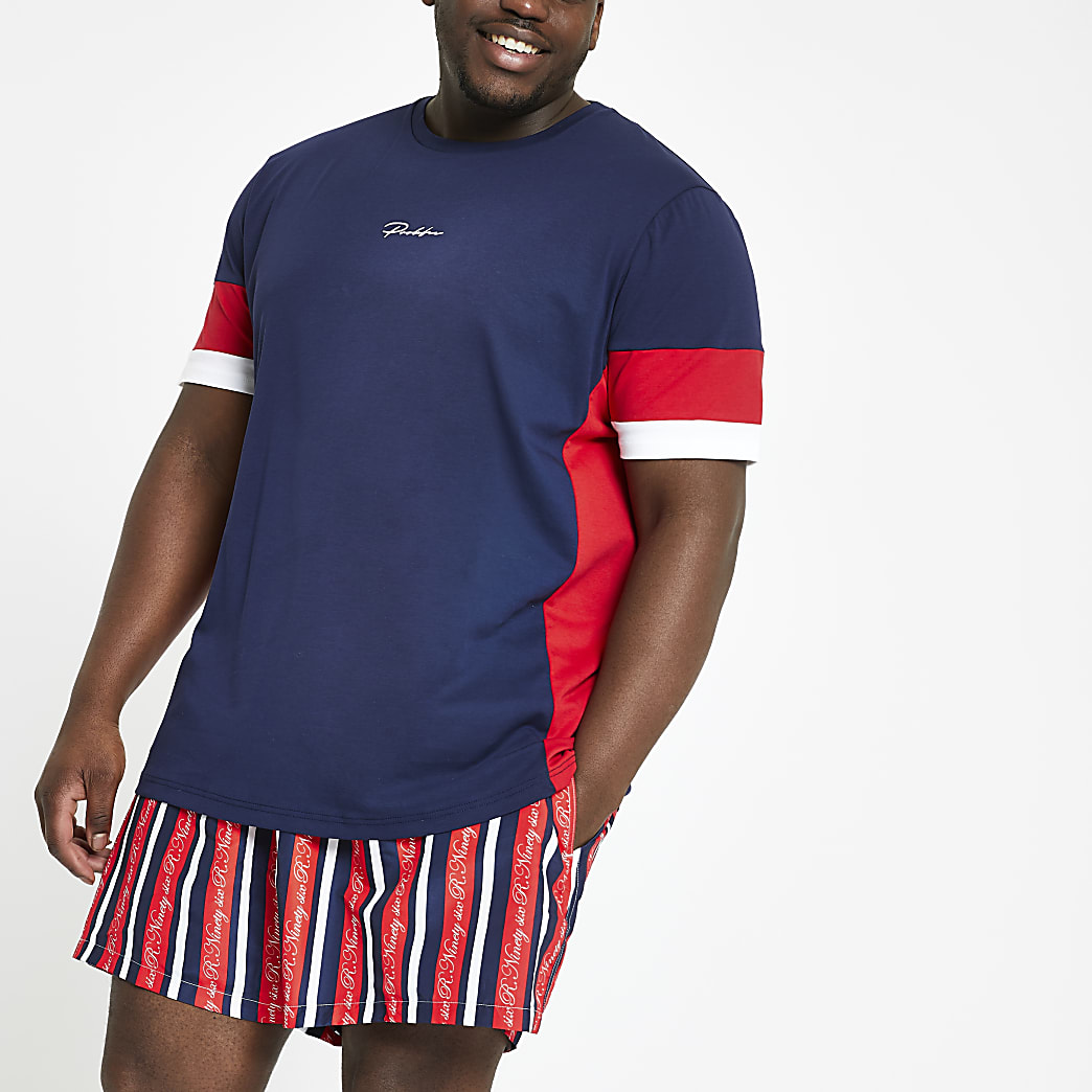 Big and Tall red R96 stripe swim shorts