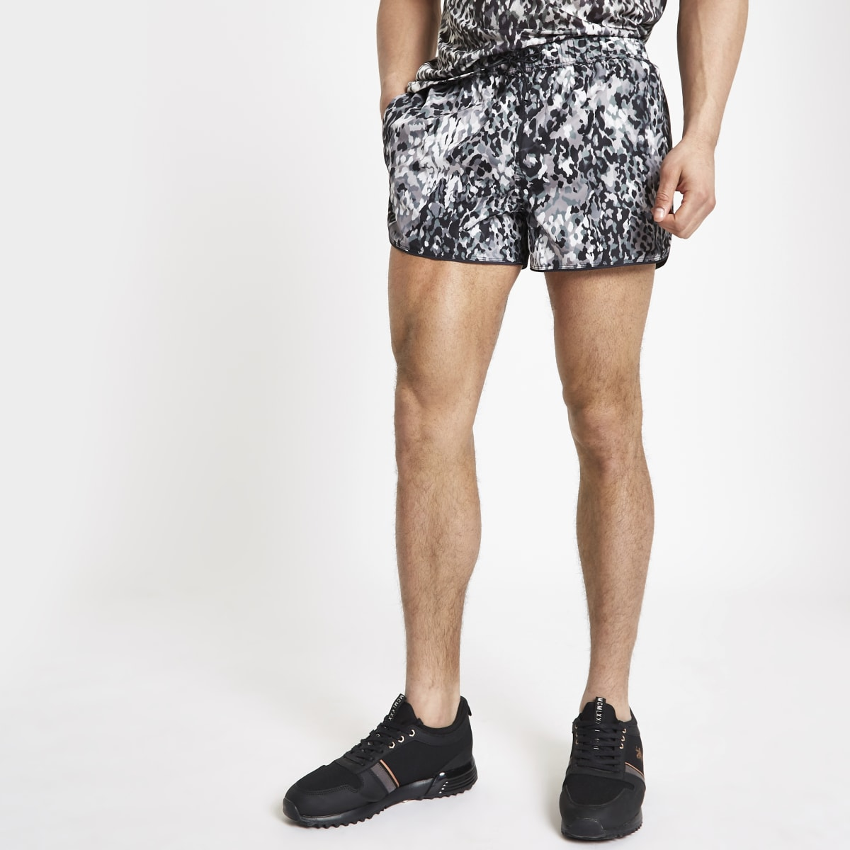 Black leopard print runner swim shorts