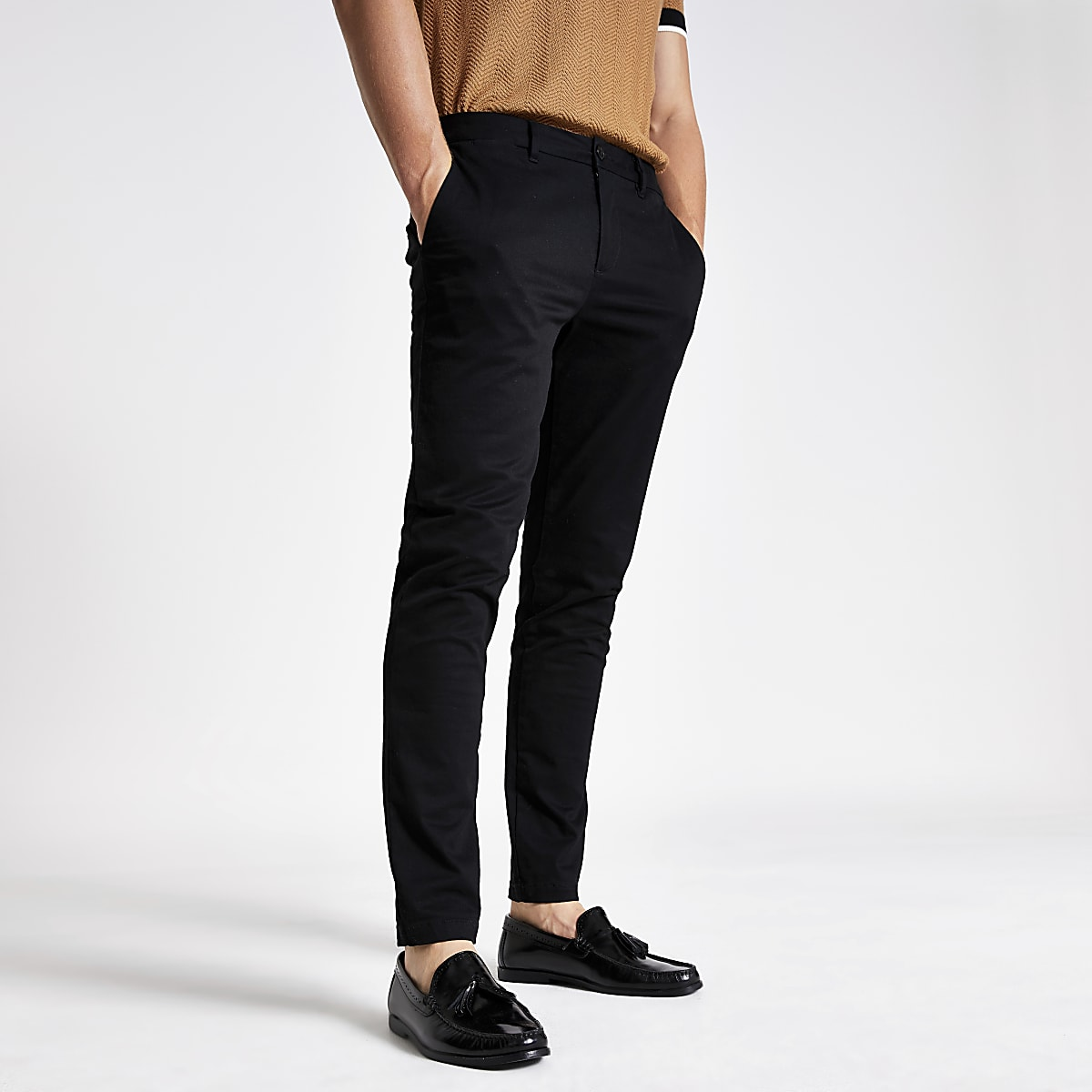 Black skinny fit chino trousers