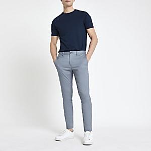 Blauwe skinny-fit chino