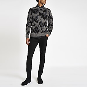 Grey leopard print slim fit sweater