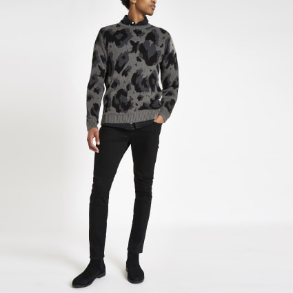 Grey leopard print slim fit jumper