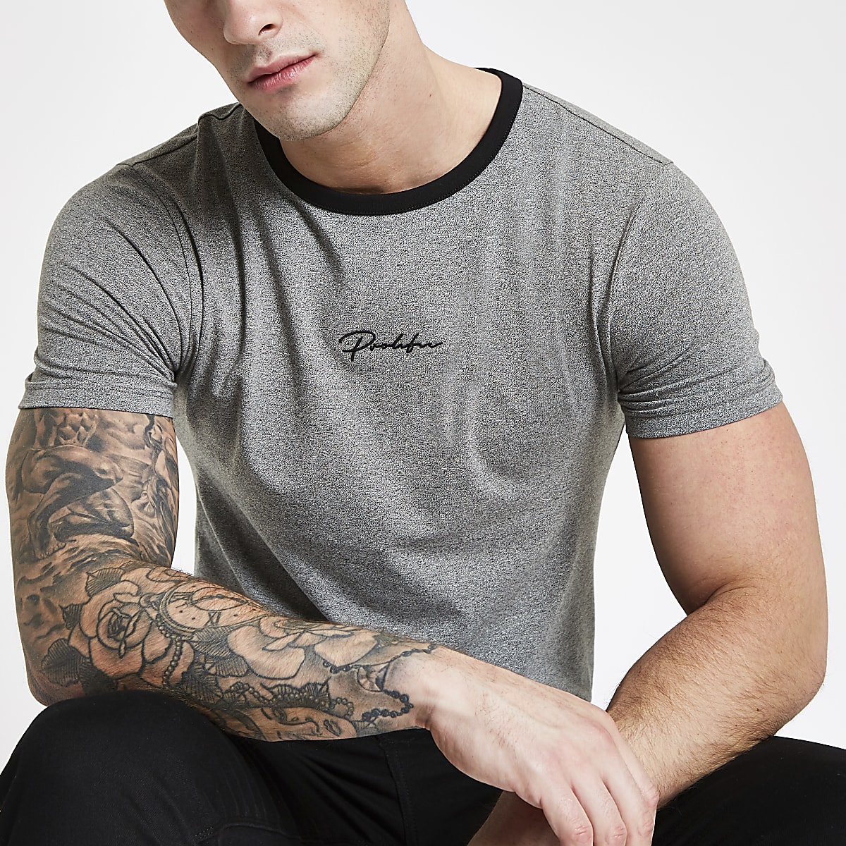 """Graues Muscle Fit T-Shirt """"Prolific"""""""