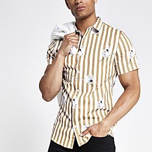 Ecru gestreept slim-fit overhemd