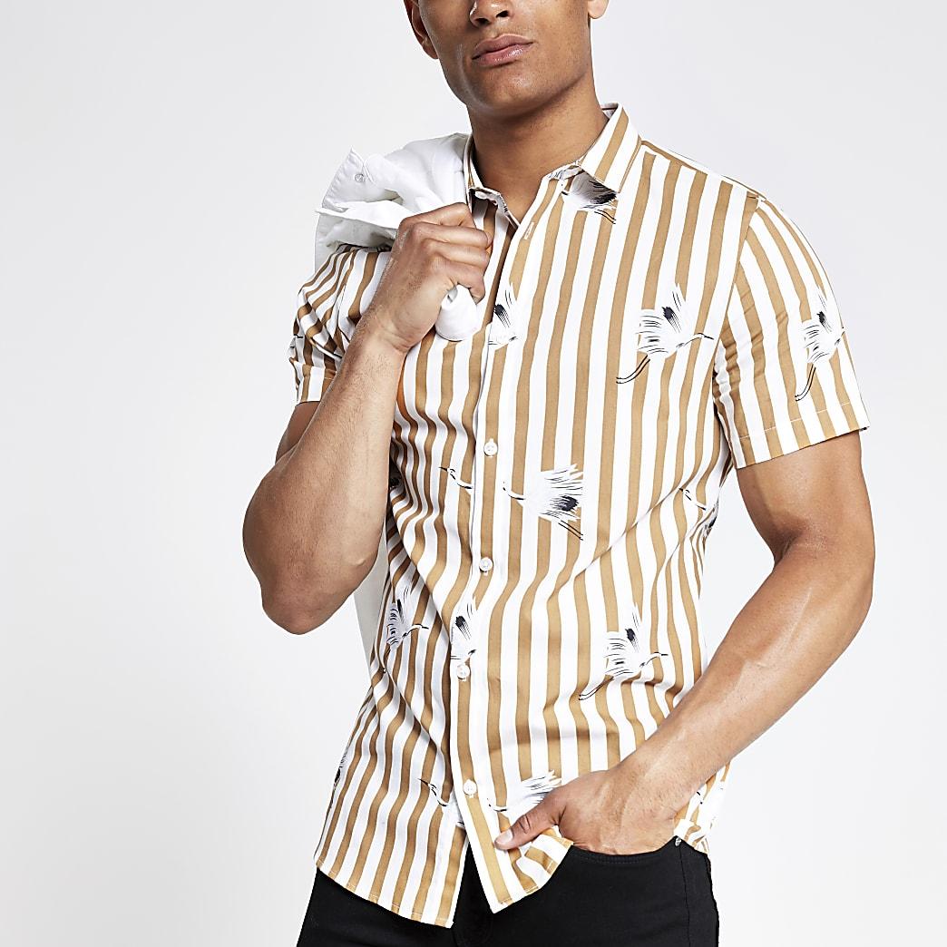Ecru gestreept slim-fit overhemd met korte mouwen